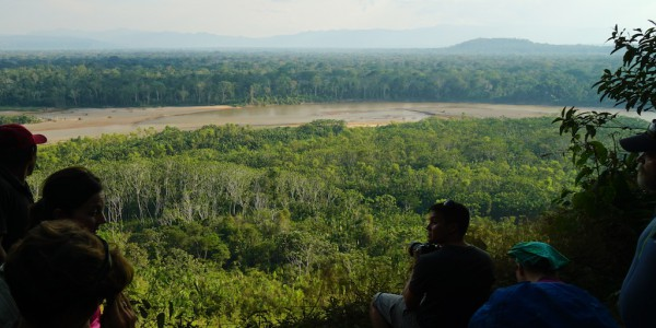 Enjoying a scenic overlook in Bolivia's Amazon jungle